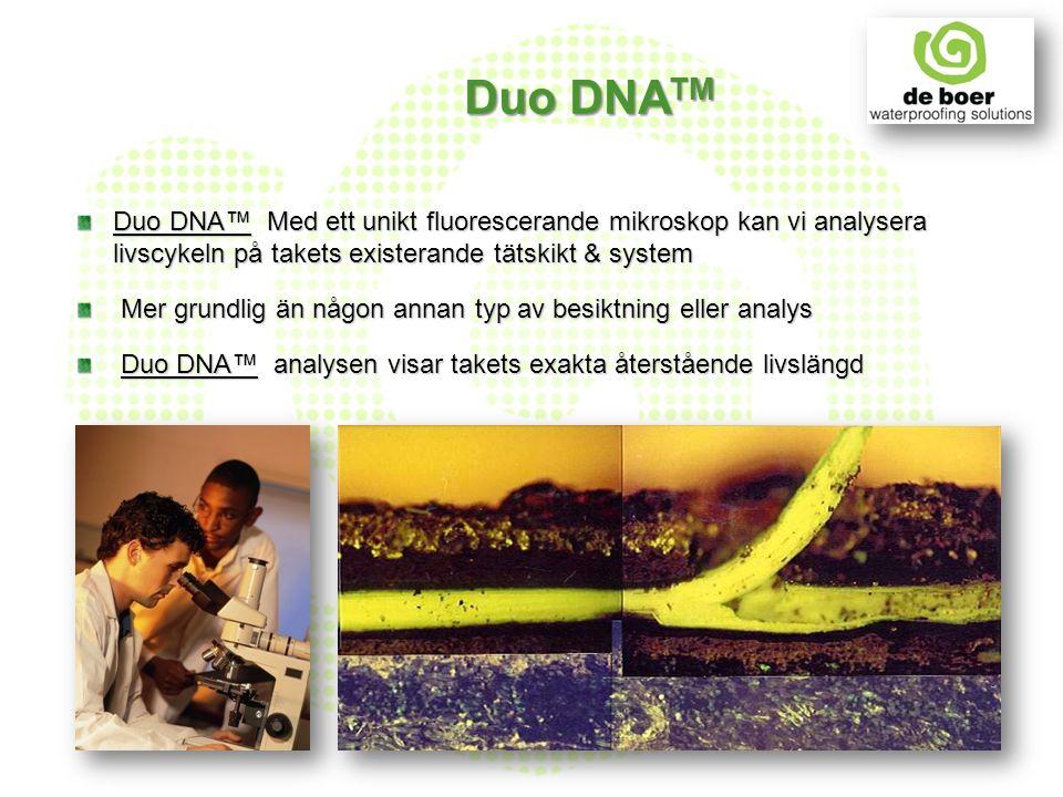 Duo DNA TM Duo DNA™ Med ett unikt fluorescerande mikroskop kan vi analysera livscykeln på takets existerande tätskikt & system Mer grundlig än någon a