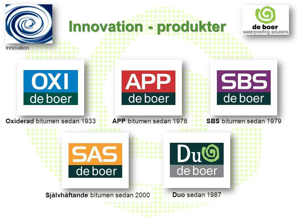 Oxiderad bitumen sedan 1933APP bitumen sedan 1978SBS bitumen sedan 1979 Självhäftande bitumen sedan 2000 Duo sedan 1987 Innovation Innovation - produk