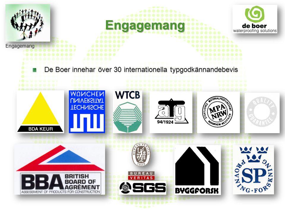 De Boer innehar över 30 internationella typgodkännandebevis De Boer innehar över 30 internationella typgodkännandebevis Engagemang Engagemang