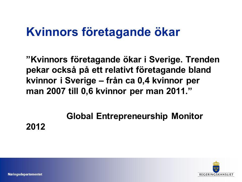 Näringsdepartementet Kvinnors företagande ökar Kvinnors företagande ökar i Sverige.