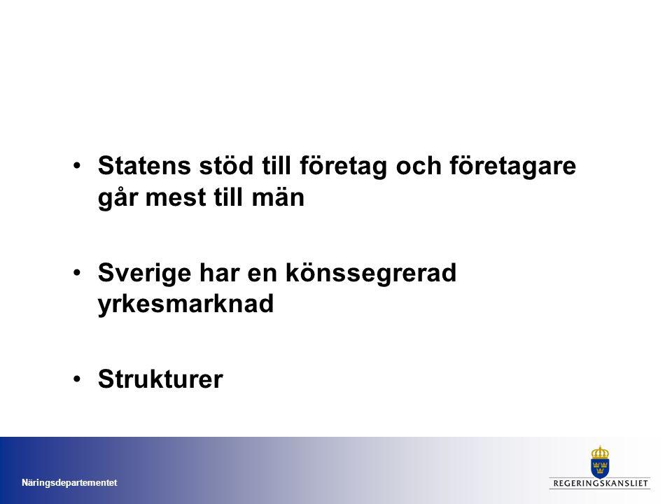 Näringsdepartementet Statens stöd till företag och företagare går mest till män Sverige har en könssegrerad yrkesmarknad Strukturer