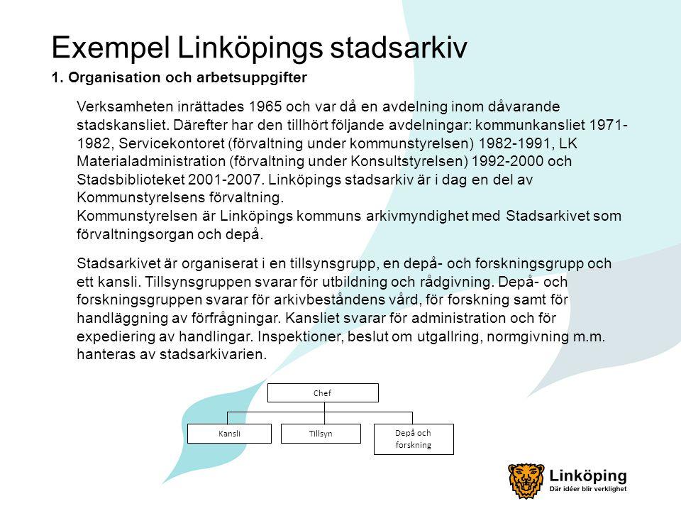 Exempel Linköpings stadsarkiv 1. Organisation och arbetsuppgifter Verksamheten inrättades 1965 och var då en avdelning inom dåvarande stadskansliet. D