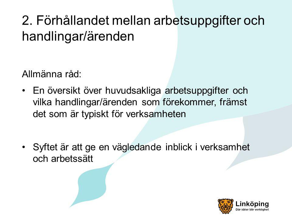 Exempel Linköpings stadsarkiv 7. Gallringsregler Enligt dokumenthanteringsplan.