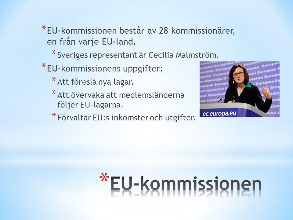 * EU-kommissionen består av 28 kommissionärer, en från varje EU-land. * Sveriges representant är Cecilia Malmström. * EU-kommissionens uppgifter: * At