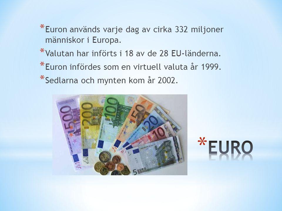 * Euron används varje dag av cirka 332 miljoner människor i Europa. * Valutan har införts i 18 av de 28 EU-länderna. * Euron infördes som en virtuell