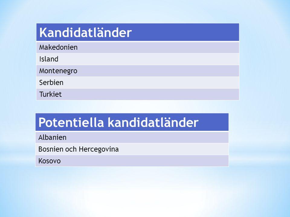 Kandidatländer Makedonien Island Montenegro Serbien Turkiet Potentiella kandidatländer Albanien Bosnien och Hercegovina Kosovo