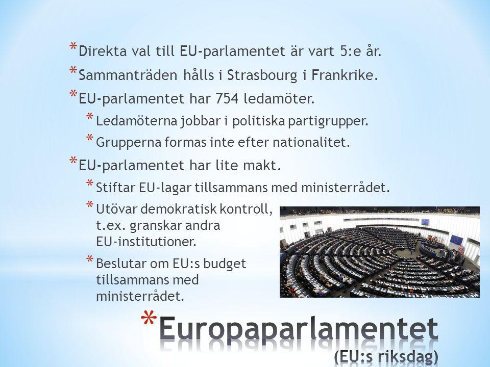 * Direkta val till EU-parlamentet är vart 5:e år. * Sammanträden hålls i Strasbourg i Frankrike. * EU-parlamentet har 754 ledamöter. * Ledamöterna job