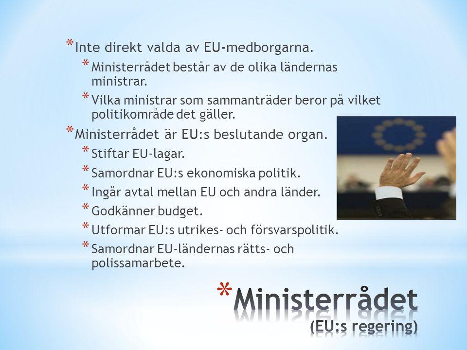 * Inte direkt valda av EU-medborgarna. * Ministerrådet består av de olika ländernas ministrar. * Vilka ministrar som sammanträder beror på vilket poli