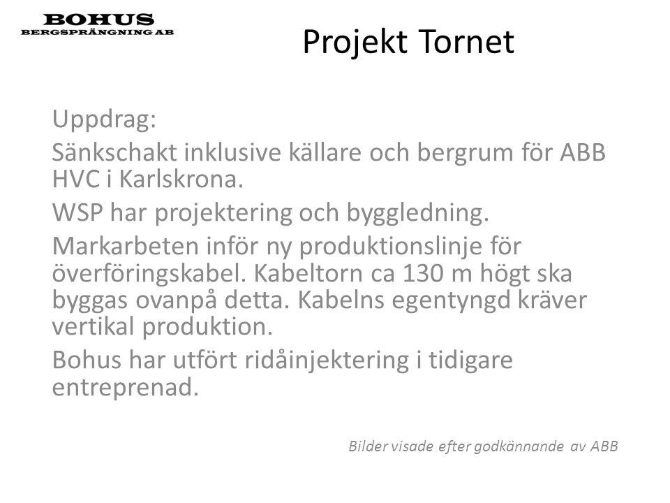 Projekt Tornet Uppdrag: Sänkschakt inklusive källare och bergrum för ABB HVC i Karlskrona. WSP har projektering och byggledning. Markarbeten inför ny