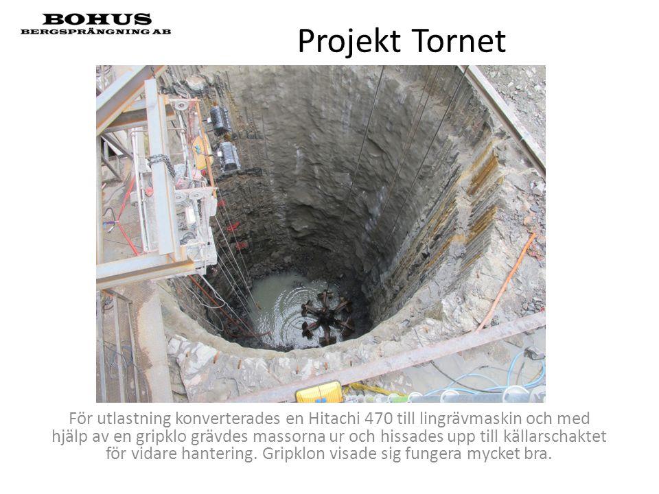 Projekt Tornet För utlastning konverterades en Hitachi 470 till lingrävmaskin och med hjälp av en gripklo grävdes massorna ur och hissades upp till kä
