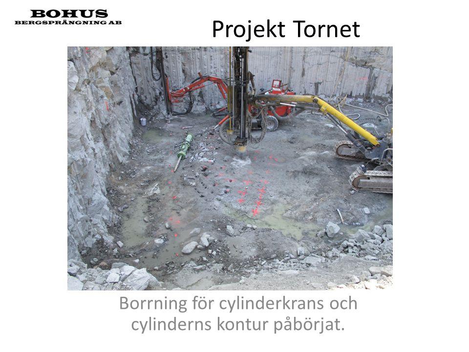 Projekt Tornet Borrning för cylinderkrans och cylinderns kontur påbörjat.