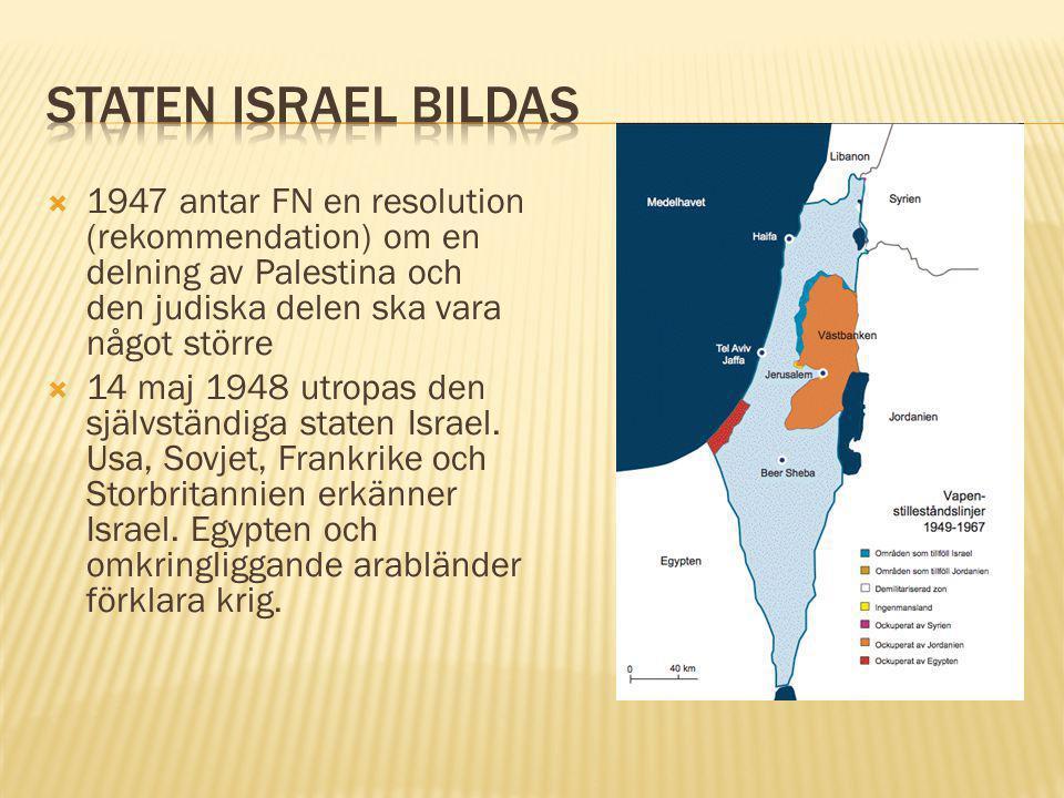  1947 antar FN en resolution (rekommendation) om en delning av Palestina och den judiska delen ska vara något större  14 maj 1948 utropas den självs
