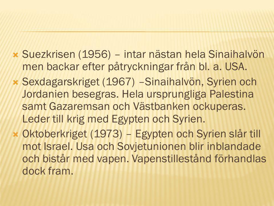  Suezkrisen (1956) – intar nästan hela Sinaihalvön men backar efter påtryckningar från bl. a. USA.  Sexdagarskriget (1967) –Sinaihalvön, Syrien och