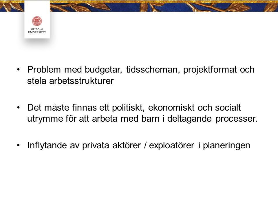 Problem med budgetar, tidsscheman, projektformat och stela arbetsstrukturer Det måste finnas ett politiskt, ekonomiskt och socialt utrymme för att arb