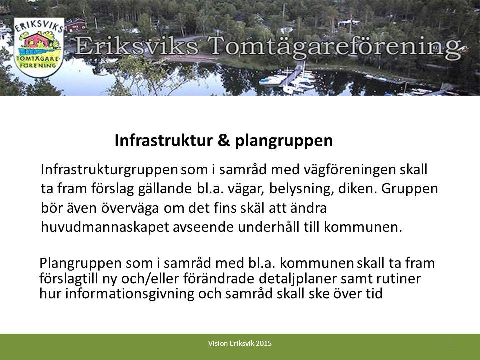 Infrastrukturgruppen som i samråd med vägföreningen skall ta fram förslag gällande bl.a.