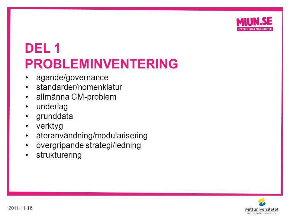 DEL 1 PROBLEMINVENTERING 2011-11-16 ägande/governance standarder/nomenklatur allmänna CM-problem underlag grunddata verktyg återanvändning/modularisering övergripande strategi/ledning strukturering