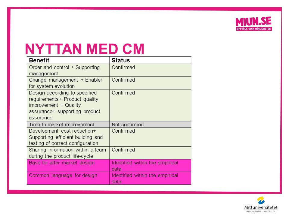 NYTTAN MED CM BenefitStatus Order and control + Supporting management Confirmed Change management + Enabler for system evolution Confirmed Design acco