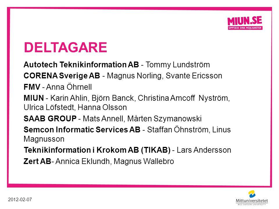 DELTAGARE Autotech Teknikinformation AB - Tommy Lundström CORENA Sverige AB - Magnus Norling, Svante Ericsson FMV - Anna Öhrnell MIUN - Karin Ahlin, B