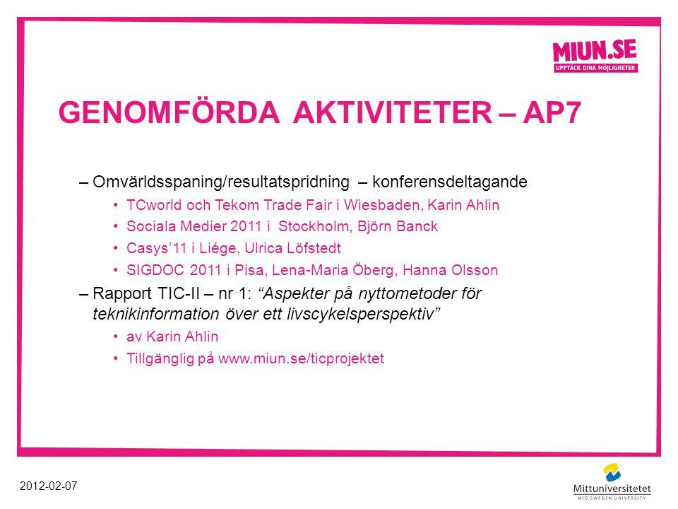 GENOMFÖRDA AKTIVITETER – AP7 2012-02-07 –Omvärldsspaning/resultatspridning – konferensdeltagande TCworld och Tekom Trade Fair i Wiesbaden, Karin Ahlin