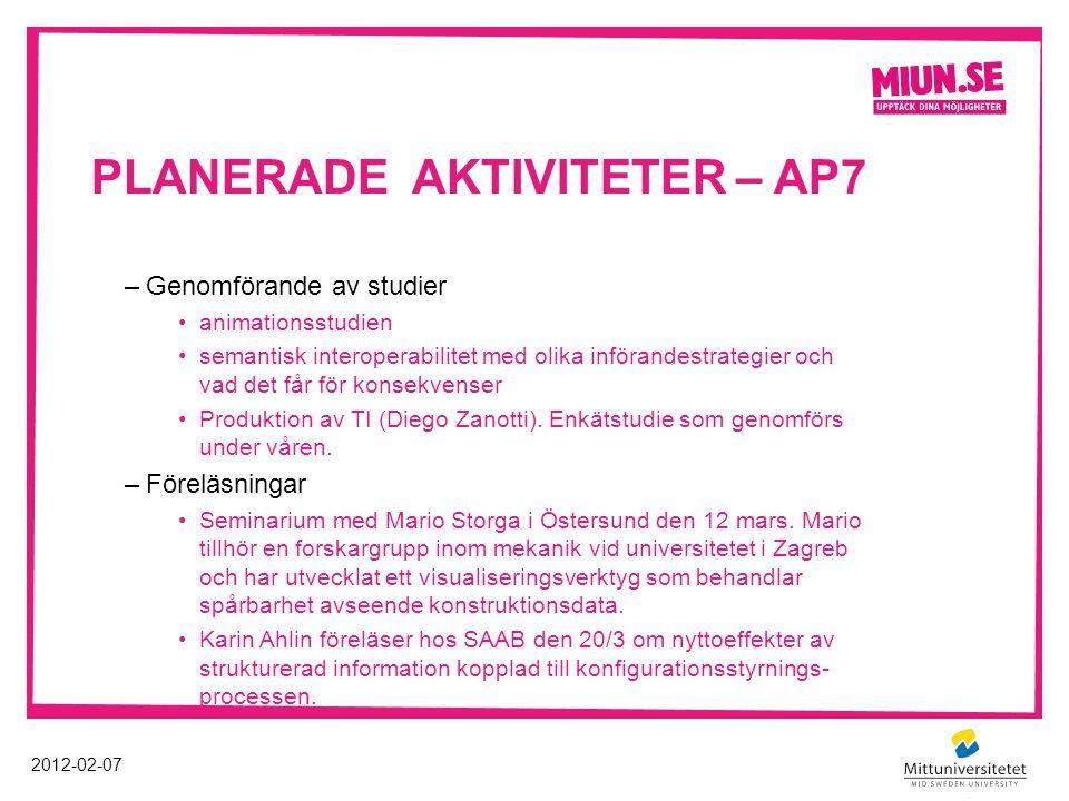 PLANERADE AKTIVITETER – AP7 2012-02-07 –Genomförande av studier animationsstudien semantisk interoperabilitet med olika införandestrategier och vad de