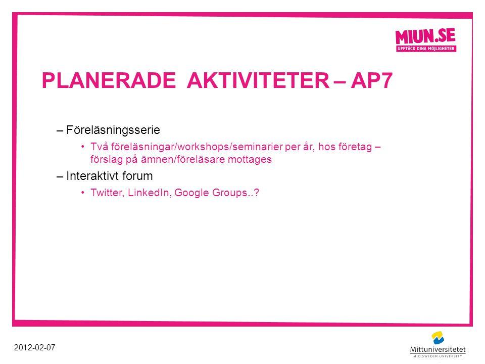 PLANERADE AKTIVITETER – AP7 2012-02-07 –Föreläsningsserie Två föreläsningar/workshops/seminarier per år, hos företag – förslag på ämnen/föreläsare mot