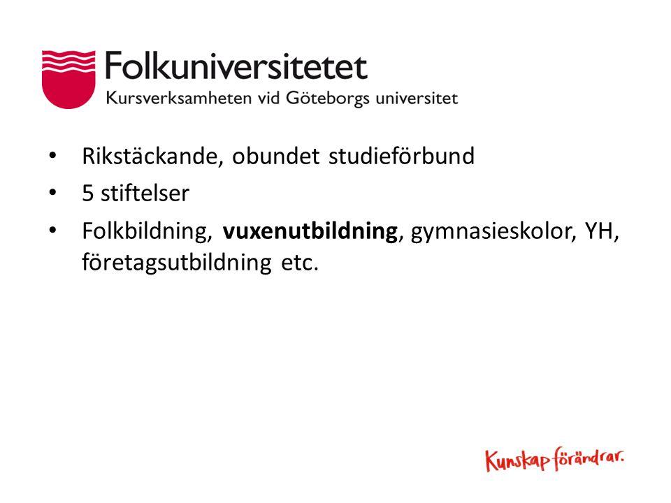 Rikstäckande, obundet studieförbund 5 stiftelser Folkbildning, vuxenutbildning, gymnasieskolor, YH, företagsutbildning etc.