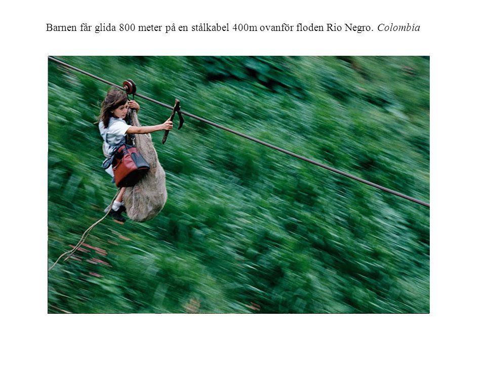 Barnen får glida 800 meter på en stålkabel 400m ovanför floden Rio Negro. Colombia