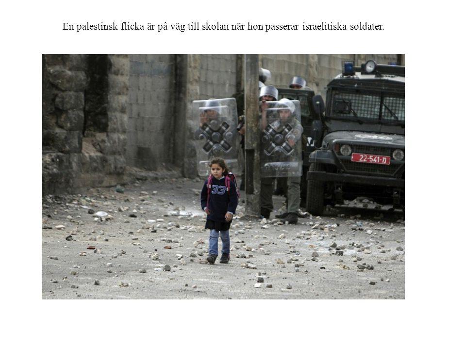 En palestinsk flicka är på väg till skolan när hon passerar israelitiska soldater.