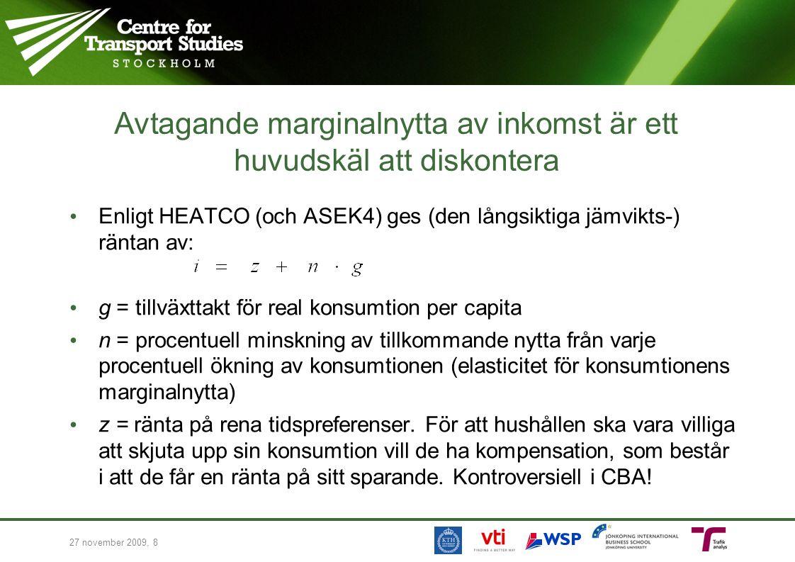27 november 2009, 8 Avtagande marginalnytta av inkomst är ett huvudskäl att diskontera Enligt HEATCO (och ASEK4) ges (den långsiktiga jämvikts-) ränta