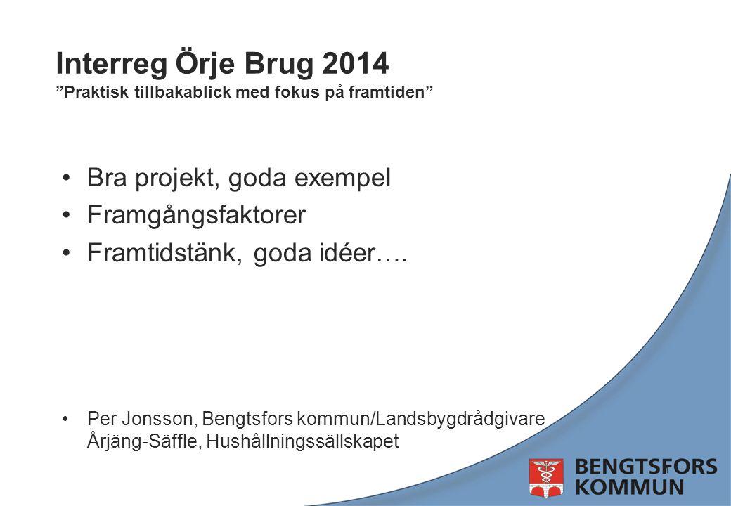 """Interreg Örje Brug 2014 """"Praktisk tillbakablick med fokus på framtiden"""" Bra projekt, goda exempel Framgångsfaktorer Framtidstänk, goda idéer…. Per Jon"""
