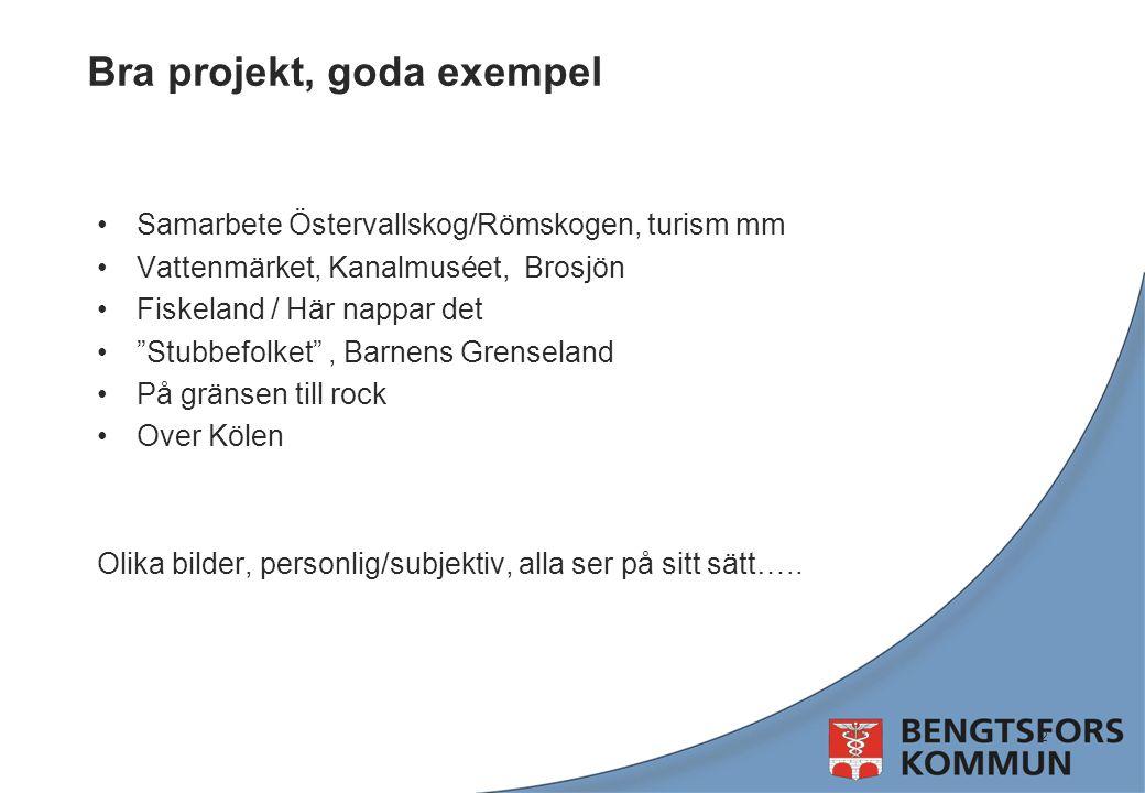 """Bra projekt, goda exempel Samarbete Östervallskog/Römskogen, turism mm Vattenmärket, Kanalmuséet, Brosjön Fiskeland / Här nappar det """"Stubbefolket"""", B"""