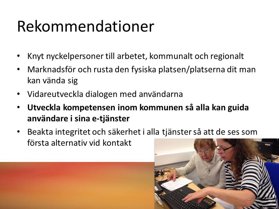 Rekommendationer Knyt nyckelpersoner till arbetet, kommunalt och regionalt Marknadsför och rusta den fysiska platsen/platserna dit man kan vända sig Vidareutveckla dialogen med användarna Utveckla kompetensen inom kommunen så alla kan guida användare i sina e-tjänster Beakta integritet och säkerhet i alla tjänster så att de ses som första alternativ vid kontakt