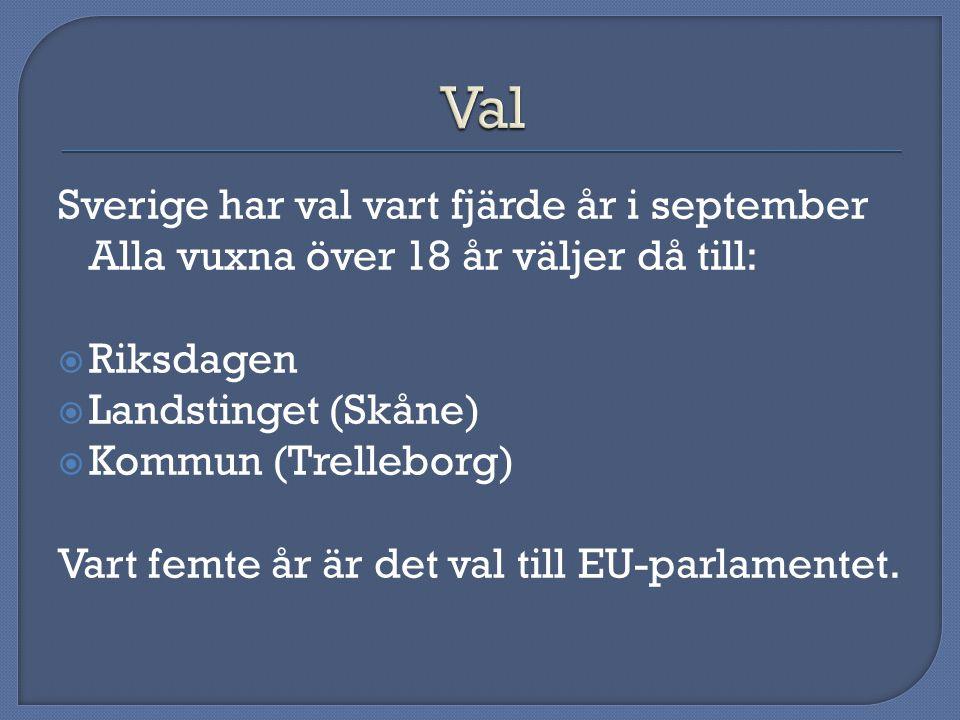 Sverige har val vart fjärde år i september Alla vuxna över 18 år väljer då till:  Riksdagen  Landstinget (Skåne)  Kommun (Trelleborg) Vart femte år är det val till EU-parlamentet.