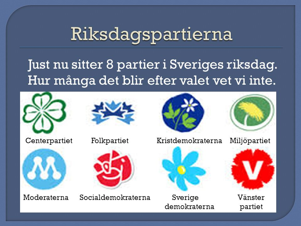 Just nu sitter 8 partier i Sveriges riksdag.Hur många det blir efter valet vet vi inte.