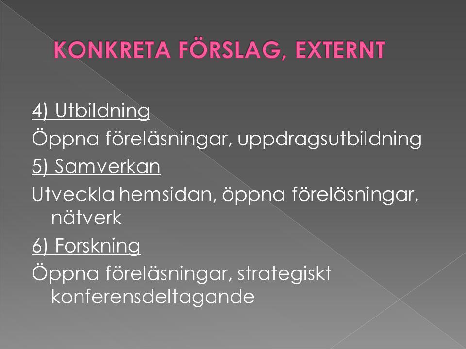 4) Utbildning Öppna föreläsningar, uppdragsutbildning 5) Samverkan Utveckla hemsidan, öppna föreläsningar, nätverk 6) Forskning Öppna föreläsningar, strategiskt konferensdeltagande