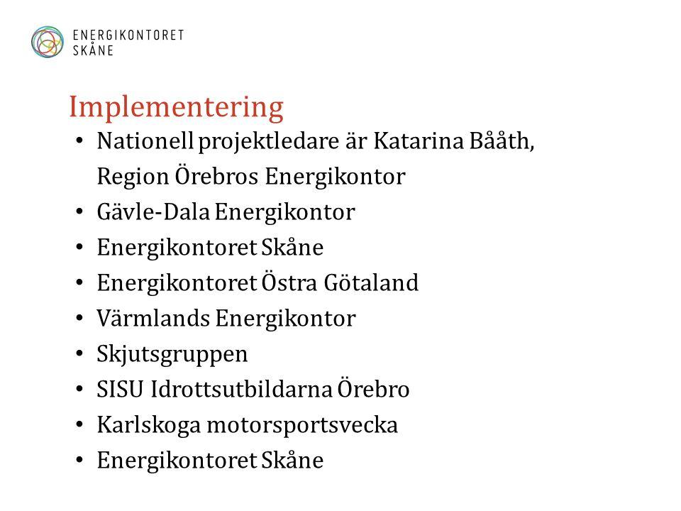 Implementering Nationell projektledare är Katarina Bååth, Region Örebros Energikontor Gävle-Dala Energikontor Energikontoret Skåne Energikontoret Östra Götaland Värmlands Energikontor Skjutsgruppen SISU Idrottsutbildarna Örebro Karlskoga motorsportsvecka Energikontoret Skåne