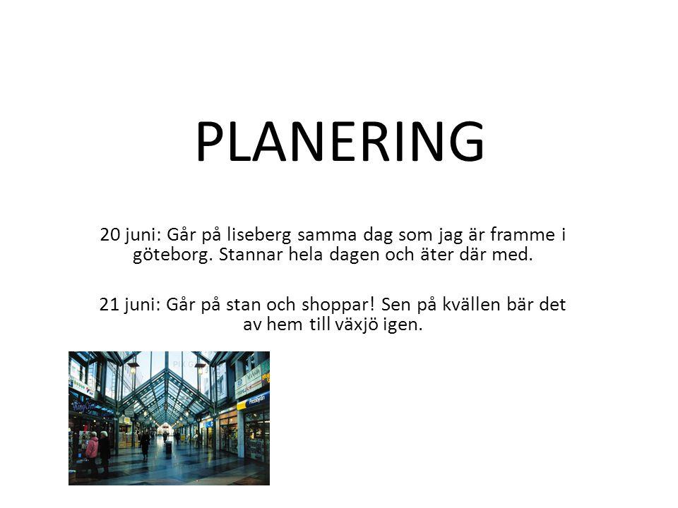 PLANERING 20 juni: Går på liseberg samma dag som jag är framme i göteborg. Stannar hela dagen och äter där med. 21 juni: Går på stan och shoppar! Sen