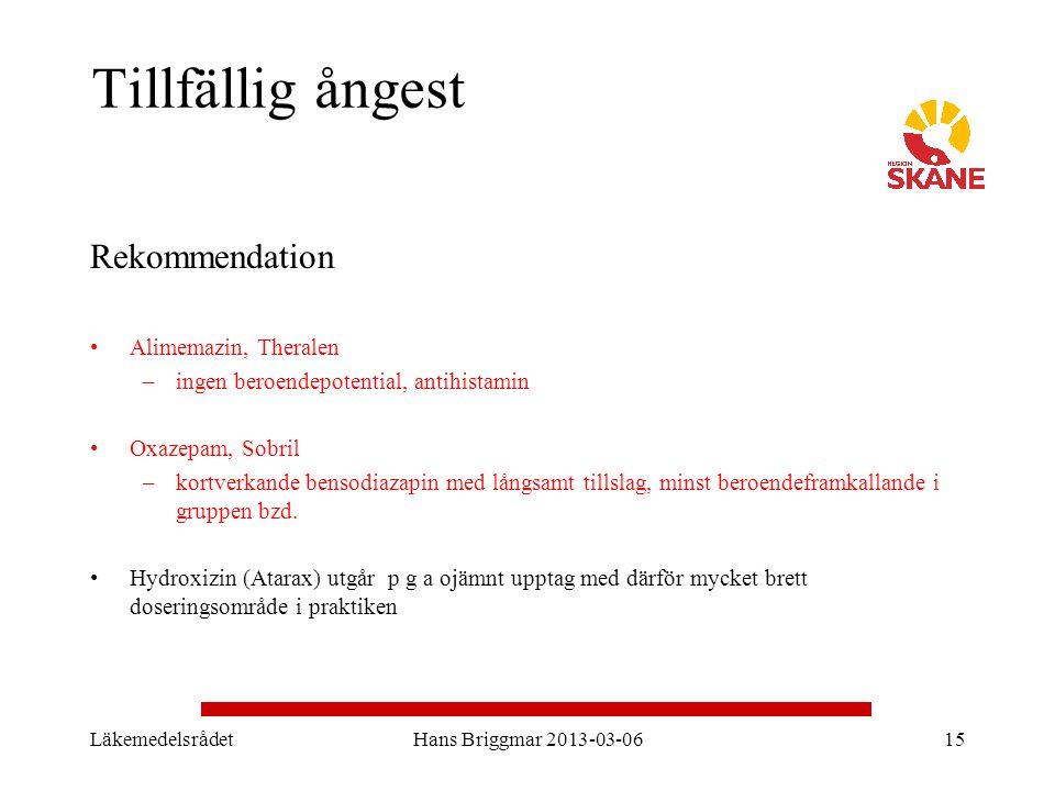 LäkemedelsrådetHans Briggmar 2013-03-0615 Tillfällig ångest Rekommendation Alimemazin, Theralen –ingen beroendepotential, antihistamin Oxazepam, Sobri