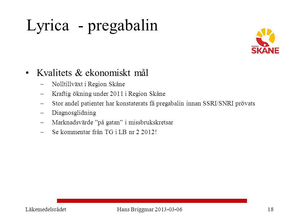 Lyrica - pregabalin Kvalitets & ekonomiskt mål –Nolltillväxt i Region Skåne –Kraftig ökning under 2011 i Region Skåne –Stor andel patienter har konsta