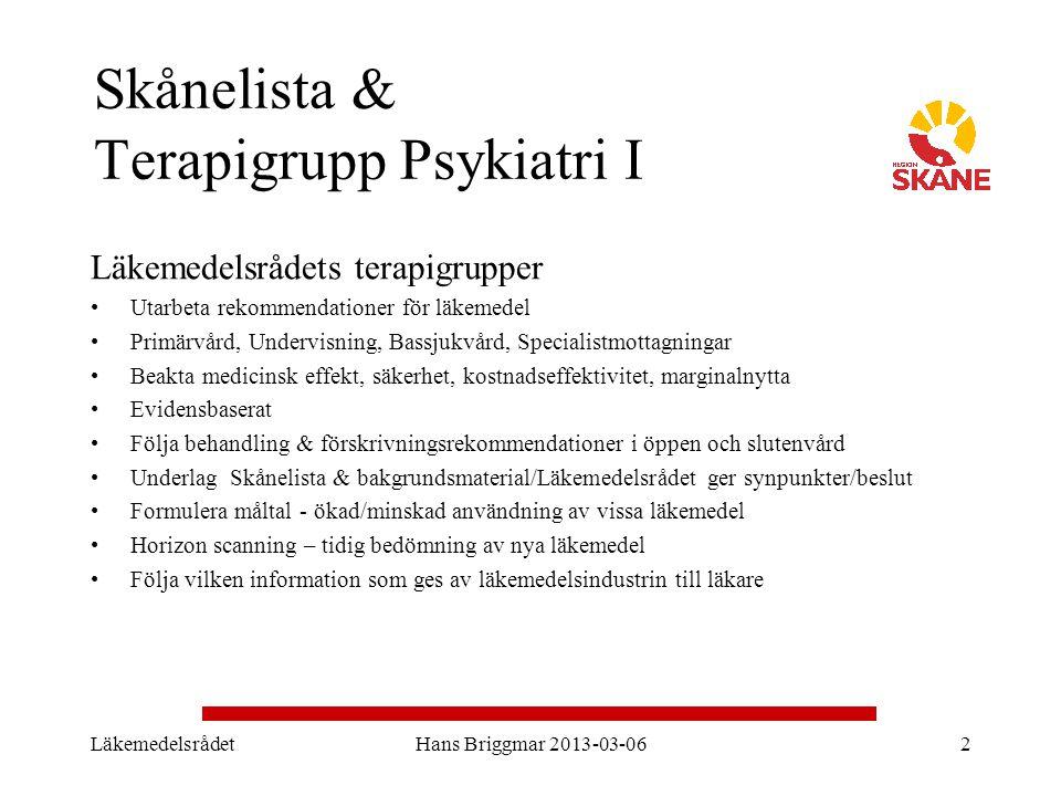 Skånelista & Terapigrupp Psykiatri I Läkemedelsrådets terapigrupper Utarbeta rekommendationer för läkemedel Primärvård, Undervisning, Bassjukvård, Spe