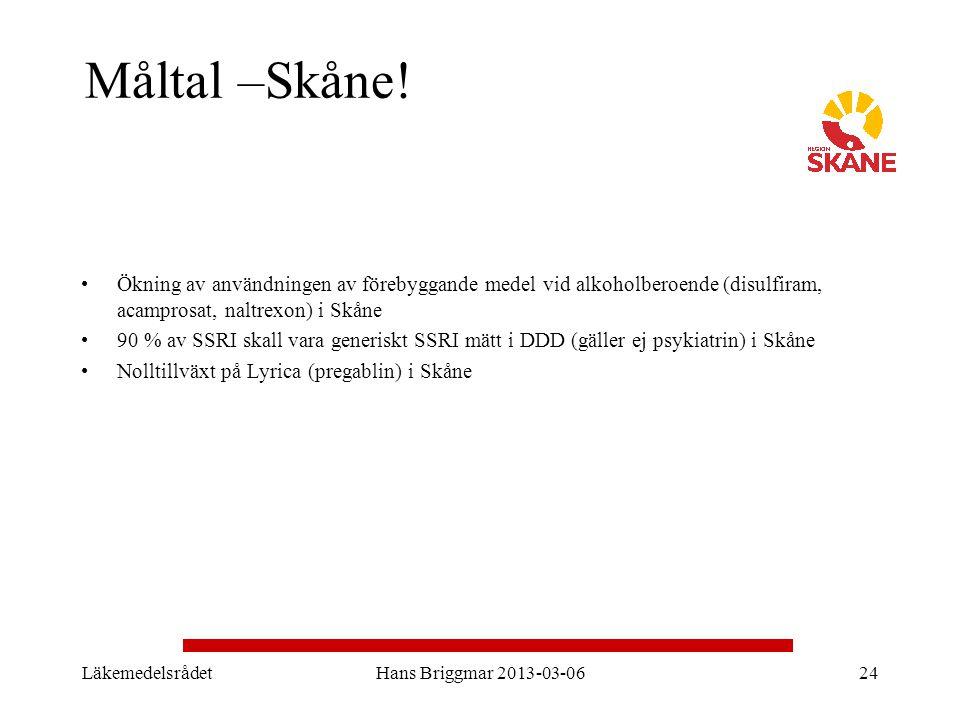 Måltal –Skåne! Ökning av användningen av förebyggande medel vid alkoholberoende (disulfiram, acamprosat, naltrexon) i Skåne 90 % av SSRI skall vara ge
