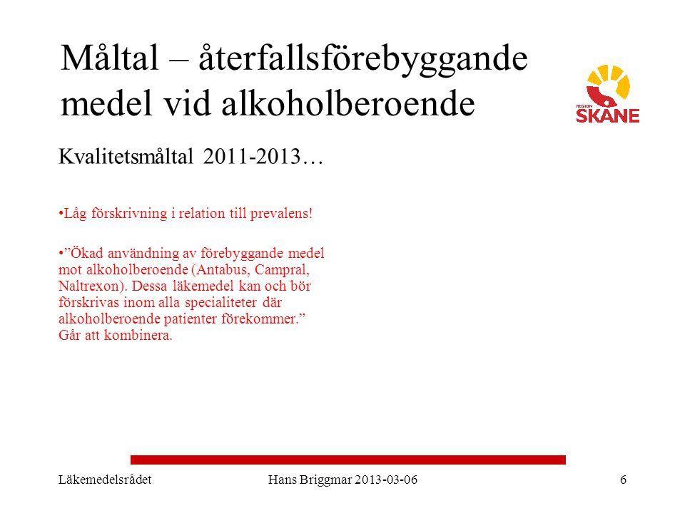 """Måltal – återfallsförebyggande medel vid alkoholberoende Kvalitetsmåltal 2011-2013… Låg förskrivning i relation till prevalens! """"Ökad användning av fö"""