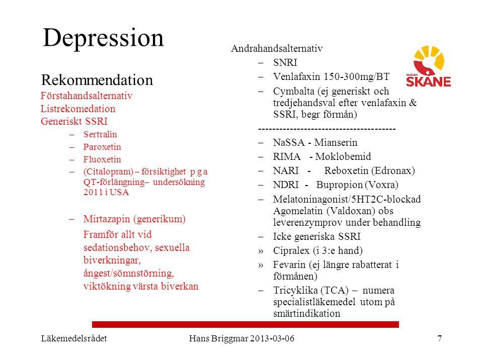 LäkemedelsrådetHans Briggmar 2013-03-067 Depression Rekommendation Förstahandsalternativ Listrekomedation Generiskt SSRI –Sertralin –Paroxetin –Fluoxe