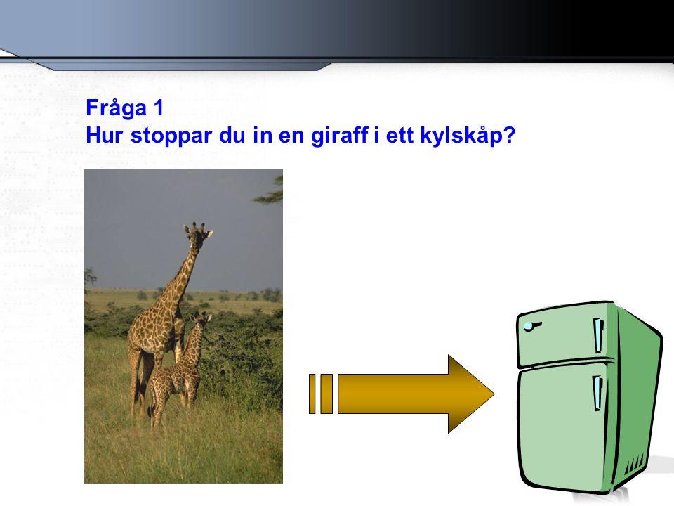 Fråga 1 Hur stoppar du in en giraff i ett kylskåp?