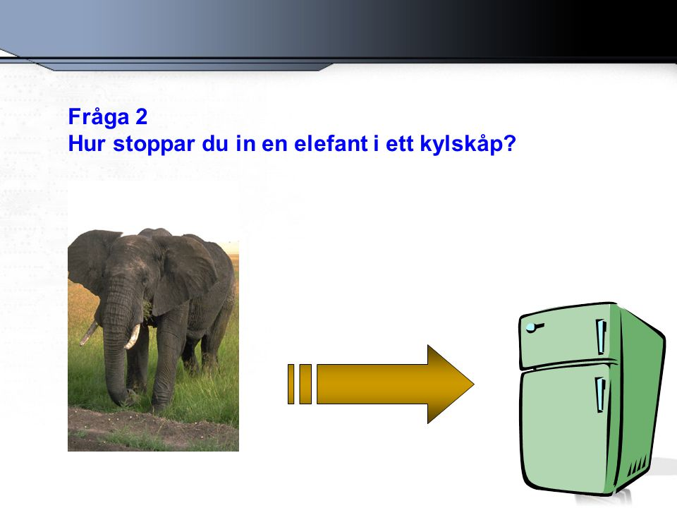 Fråga 2 Hur stoppar du in en elefant i ett kylskåp?