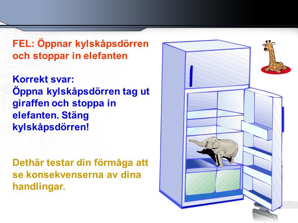 FEL: Öppnar kylskåpsdörren och stoppar in elefanten Korrekt svar: Öppna kylskåpsdörren tag ut giraffen och stoppa in elefanten.
