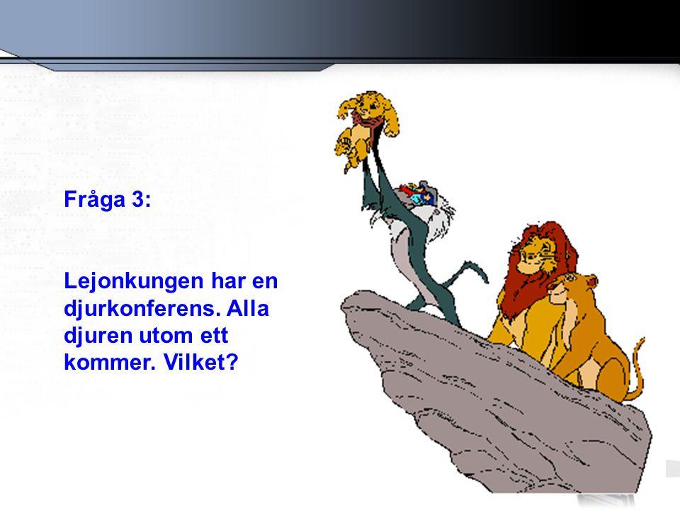 Fråga 3: Lejonkungen har en djurkonferens. Alla djuren utom ett kommer. Vilket?