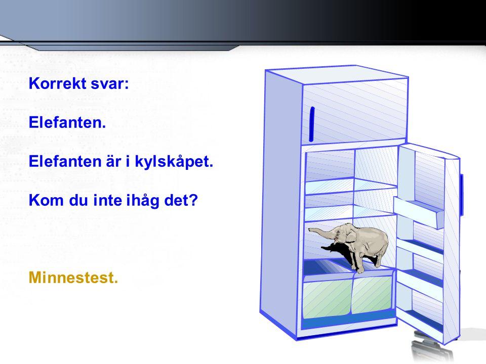 Korrekt svar: Elefanten. Elefanten är i kylskåpet. Kom du inte ihåg det? Minnestest.