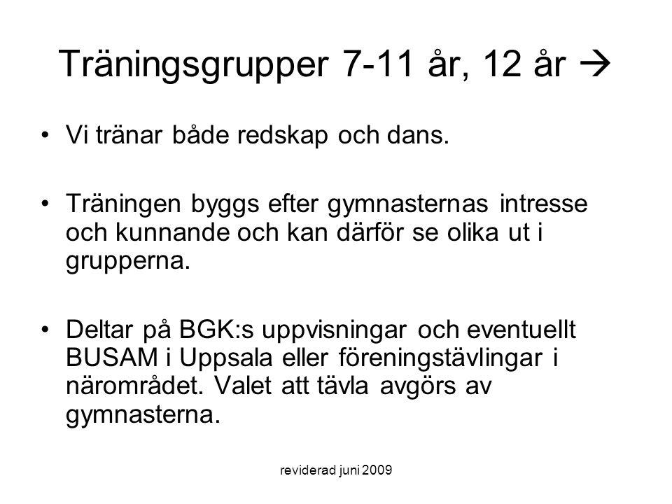 reviderad juni 2009 Träningsgrupper 7-11 år, 12 år  Vi tränar både redskap och dans. Träningen byggs efter gymnasternas intresse och kunnande och kan