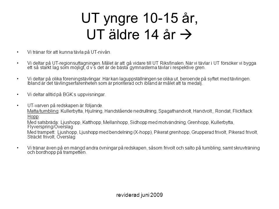 reviderad juni 2009 UT yngre 10-15 år, UT äldre 14 år  Vi tränar för att kunna tävla på UT-nivån. Vi deltar på UT-regionsuttagningen. Målet är att gå